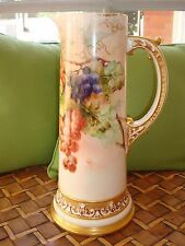 """AMERICAN BELLEEK C.A.C. HAND PAINTED TANKARD PITCHER VASE, GRAPES & GOLD 14 1/2"""""""
