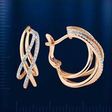 Russische Rose Rotgold 585 Ohrringe mit Diamanten ROSE GOLD DIAMOND EARRINGS