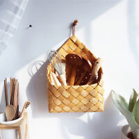 Wicker brown wood wall hanging pocket basket flat back door country decoRKUS