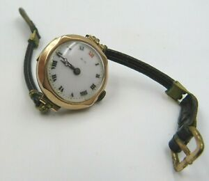Antique 9ct. Rose Gold Cased Ladies Wrist Watch with Leather Strap