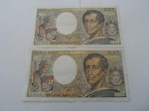lot de 2 billets 200 francs montesquieu 1992 c.116/c.146