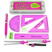Helix Oxford Clash Maths Set - 9 Piece Pink + Premium Ballpoint Pen - Pink
