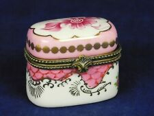 Vintage White Porcelain Hand Painted Pink Gold Floral Trinket Box Flowers Hinged