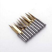 10x Titanium Coated Carbide PCB Engraving CNC Bit Router Tool 15 Degree 0.2mm