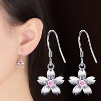 925 Silver Earrings White Pink Crystal Flower Style Women Fashion Jewelry