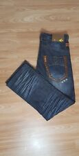 ENERGIE CROWELL SIXTY DISTRESSED LEATHER PATCH JEANS TROUSERS SIZE W 32 L 32 R