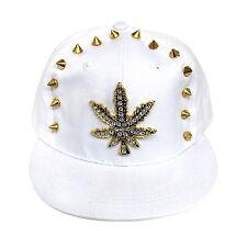 Bling Caps Hiphop Flat Peak Snapback Baseball Cap Hats (Leaf Stud / White 003)