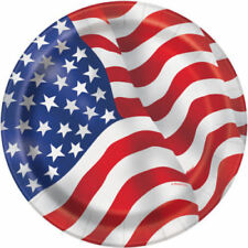 Unique Party 18cm US American Flag Plates Pack of 8