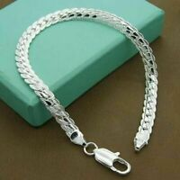 925 Solid Silver Bracelet Fashion Jewelry Women 5MM Snake Chain Bangle Gift