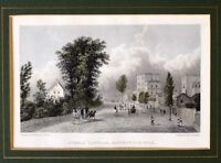 c1830 ANTIQUE PRINT MOUNTED STEELE COTTAGE HAVERSTOCK HILL HAND COLOURED DETAIL