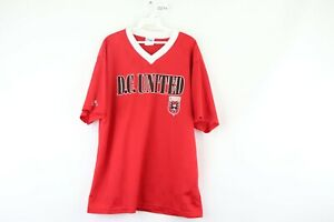 Vintage 90s Majestic Mens Large DC United MLS All Over Print Soccer Jersey Red