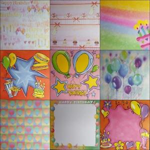 """12""""X12"""" Scrapbook Paper Themes - Happy Birthday Candles Cake Presents Balloons"""