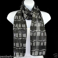Piano Keyboard Womens Music Scarf Black Scarves Keys Notes Musician Gift New