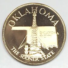 C2814   FRANKLIN  MINT  BRONZE    MEDAL,  STATE OF  OKLAHOMA