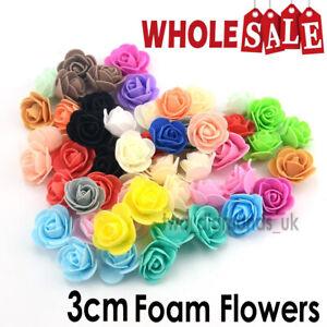 100Pcs Small  3cm Artificial Flowers Foam Rose Heads Wedding Party Decor Bouquet