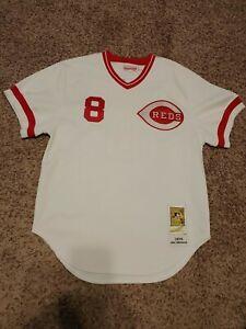 JOE MORGAN HOF Cincinnati White Baseball Jersey Coopertown Mitchell & Ness 1975
