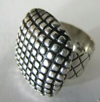 Sterling Silver Taxco Hammered Ring Modernist Oxidized Square Mexico Artisan