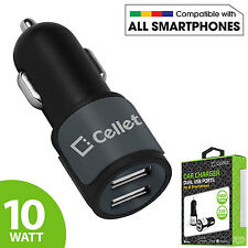 Cellet Universal High Power 10 Watt  2.1 Amp Dual USB Port Car Charger