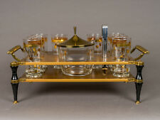 Mid-Century Tabletop Brass Barware Set Tray Gold Trimmed Glasses & Ice Bucket