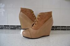 "BERTIE ""PROVINS"" TAUPE LEATHER/LEATHER LINED WEDGE ANKLE BOOTS UK 8,EU41"