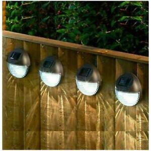 4 X LED SOLAR POWER GARDEN FENCE LIGHTS WALL XMAS PATIO OUTDOOR SECURITY LAMPS