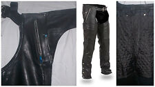 1191 Black Naked Leather Motorcycle Chap - Removable Liner