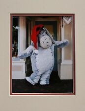 EEYORE AT DISNEYLAND DURING CHRISTMAS HOLIDAYS MATTED PHOTO-VERY COLORFUL