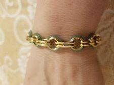 "14KT Yellow Vicenza Gold and Aventurine 7 1/4"" Circle Link Bracelet; 9.5gr NIB !"