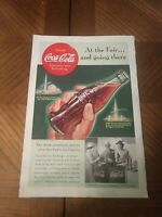 """1939 Coca Cola Vintage Print Ad """"At the Fair and Going There"""" NY Worlds Fair"""