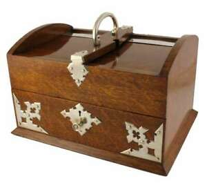 Country House Oak & Silver Plate Post In Out Box. Letter Stationery Box. c1900