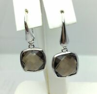 Smoky Quartz Dangle Earrings 925 Sterling Silver June Birthstone Gift Boxed NEW