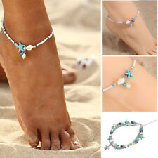 Boho Shell Starfish Silver Pearl Beads Turquoise Chain Anklet Bracelet Jewelry