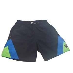 Vintage Men's L Bellwether Bike Shorts Cycling Padded Swim Neon Blue Blk Sports