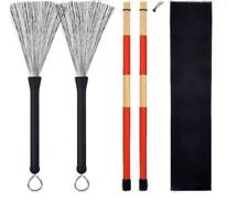 1 Pair Jazz Drum Rod Brushes Sticks Made of Bamboo for Folk Music.