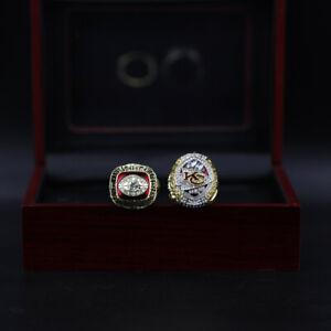 2 Pcs 1969 2019 Kansas City Chiefs Super Bowl Championship Ring With Wooden Box