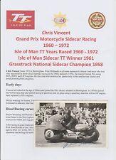 CHRIS VINCENT MOTORCYCLE RACER 1960-1972 IOMTT ORIG HAND SIGNED PHOTO/POSTCARD