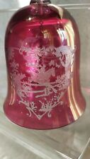 Cranberry Flashed Red Etched Glass Bell Horse Rider Cowboy Cowgirl Country Decor