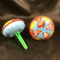 Pair of Vintage Tin Toy Top Rattle Circus Clowns