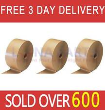 "3 Rolls 3"" x 600' Reinforced Brown Kraft Gum Adhesive Tape Industrial Grade"