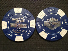 "Harley Davidson Poker Chip  (Blue & White)  ""Heart of Dixie H-D"" Pelham, AL"