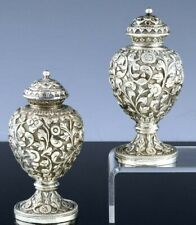 GORGEOUS PAIR ANTIQUE INDIAN STERLING SILVER FLORAL REPOUSSE SALT PEPPER SHAKERS