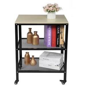 3 Tier Kitchen Trolley Microwave Cart Stand Shelves Storage Wooden Utensils Rack