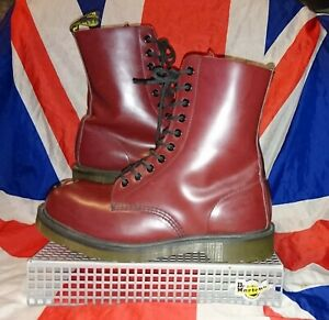 Maine*Exposed Steel Toecap Cherry Red Leather Dr Doc Martens*Cyber Punk Goth*8