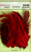 Mixed FEATHERS - Red/Burgundy - 40 per Pack - approx 6cm long Petaloo