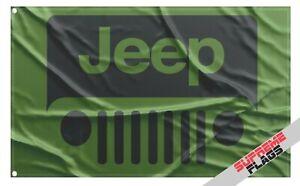 Jeep Flag Banner 3x5 Grill Grand Cherokee Renegade Compass Wrangler Rubicon