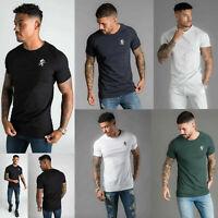 Gym King Mens Short Sleeve Crew Neck Core Plus Sleeve Panel Slim Fit T shirt Tee