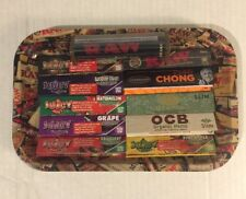 RAW 7x11 COLLAGE TRAY-Juicy Jays-JOB, OCB-Tommy Chong King Slim-Raw 2 Way Roller