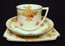 C.1927-34 ART DECO AUSTRALIANA WATTLES ROYAL DOULTON TRIO E. 8423 BONE CHINA.