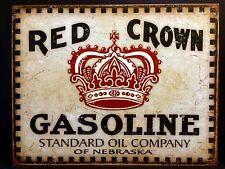 Red Crown Gasoline Standard Oil TIN SIGN  Vintage Garage Metal Wall Decor