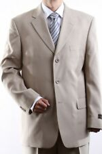 MENS SINGLE BREASTED 3 BUTTON BEIGE DRESS SUIT SIZE 46S, PL-60213-BEI